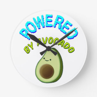 Powered By Avocado Round Clock