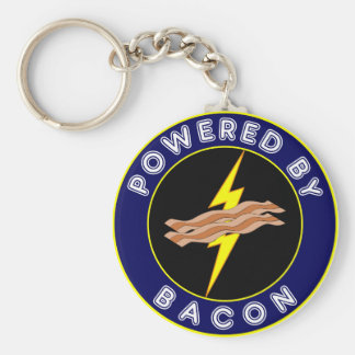 Powered By Bacon Basic Round Button Keychain