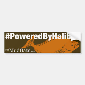 """Powered by Halibut"" bumper sticker"