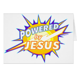 Powered by Jesus Christian gift design Greeting Card