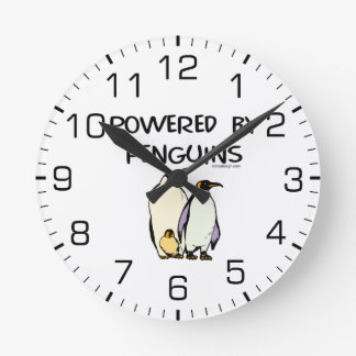 Powered By Penguins Round Clock