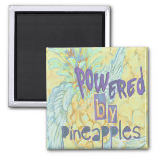 Powered By Pineapples Square Magnet