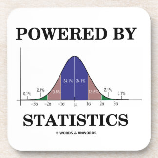Powered By Statistics (Bell Curve Humor) Drink Coaster