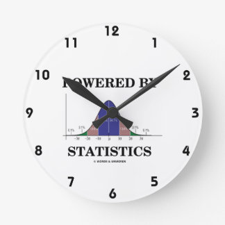 Powered By Statistics (Bell Curve Humor) Round Clock
