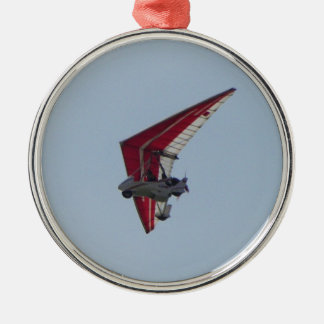 Powered hang glider Silver-Colored round ornament
