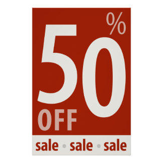 Powerful 50% OFF SALE Sign - retail sales poster