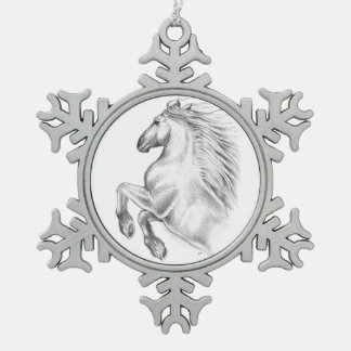 Powerful Andalusian Horse Snowflake Pewter Christmas Ornament