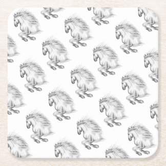 Powerful Andalusian Horse Square Paper Coaster