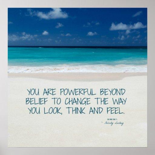 Powerful Beyond Belief: Beach Fitness Motivation Poster