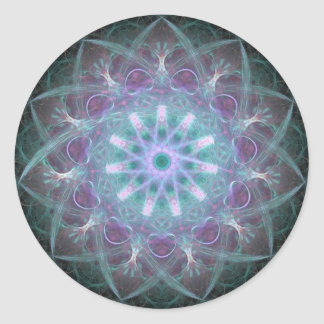 Powerful High Blue Energy Mandala Round Sticker