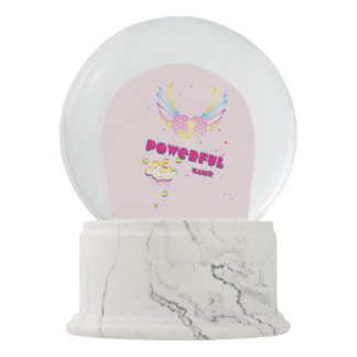 Powerful name girl snow globe