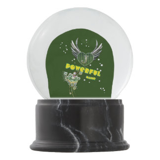 Powerful name green snow globe