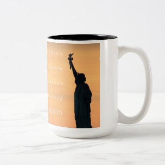 Powerful Women: Obama, Clinton, Warren, Ginsburg Two-Tone Coffee Mug