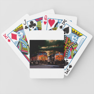 Powerfull locomotives ready to haul bicycle playing cards