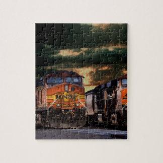 Powerfull locomotives ready to haul jigsaw puzzle