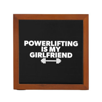 Powerlifting Is My Girlfriend Barbell Motivational Desk Organizer