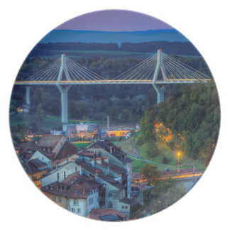 Poya and Zaehringen bridge, Fribourg, Switzerland Plate