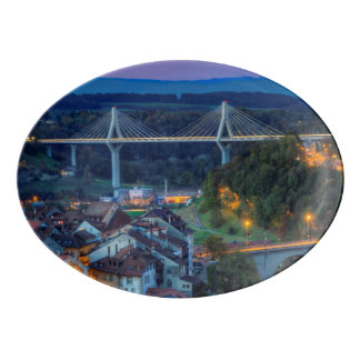 Poya and Zaehringen bridge, Fribourg, Switzerland Porcelain Serving Platter
