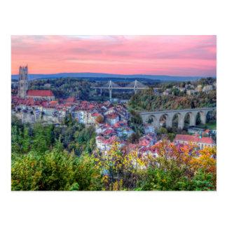 Poya and Zaehringen bridge, Fribourg, Switzerland Postcard