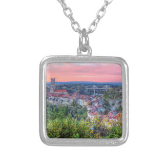 Poya and Zaehringen bridge, Fribourg, Switzerland Silver Plated Necklace