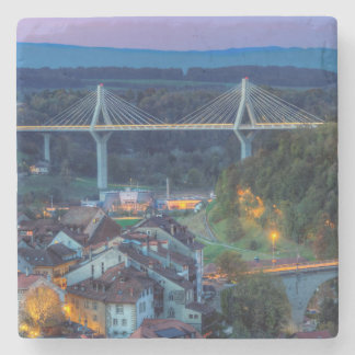 Poya and Zaehringen bridge, Fribourg, Switzerland Stone Coaster