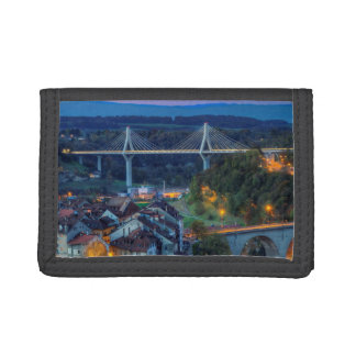 Poya and Zaehringen bridge, Fribourg, Switzerland Tri-fold Wallet