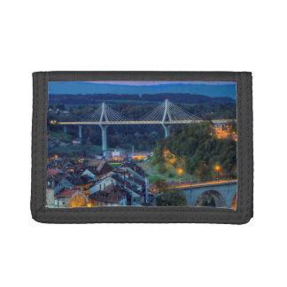 Poya and Zaehringen bridge, Fribourg, Switzerland Trifold Wallet