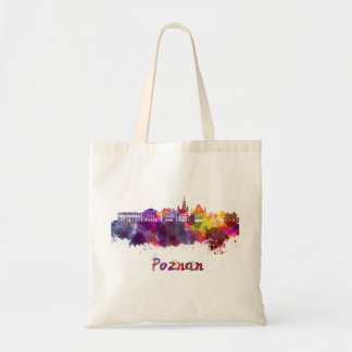 Poznan skyline in watercolor tote bag