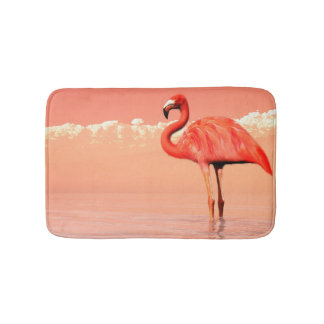 pPink flamingo in the water - 3D render Bath Mat