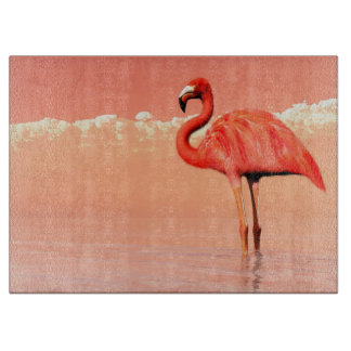 pPink flamingo in the water - 3D render Cutting Board
