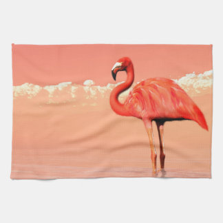 pPink flamingo in the water - 3D render Kitchen Towel
