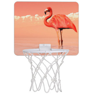 pPink flamingo in the water - 3D render Mini Basketball Hoop