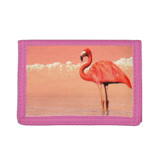 pPink flamingo in the water - 3D render Tri-fold Wallets