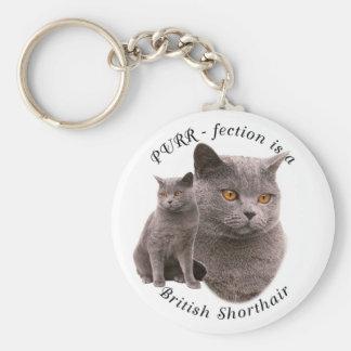 PPURR-fection British shorthair Blue Basic Round Button Keychain