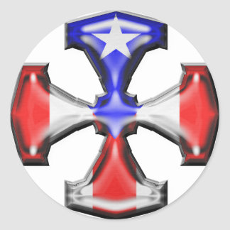 PR Flag Iron Cross Classic Round Sticker