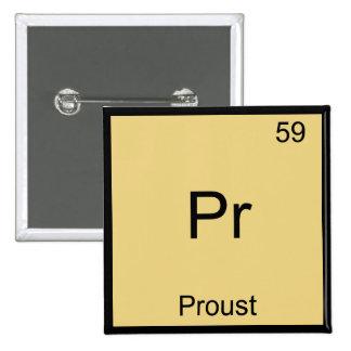 Pr - Proust Funny Chemistry Element Symbol T-Shirt 2 Inch Square Button