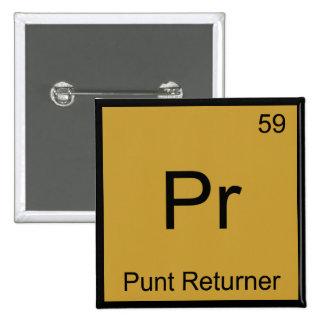 Pr - Punt Returner Chemistry Element Symbol Tee Buttons