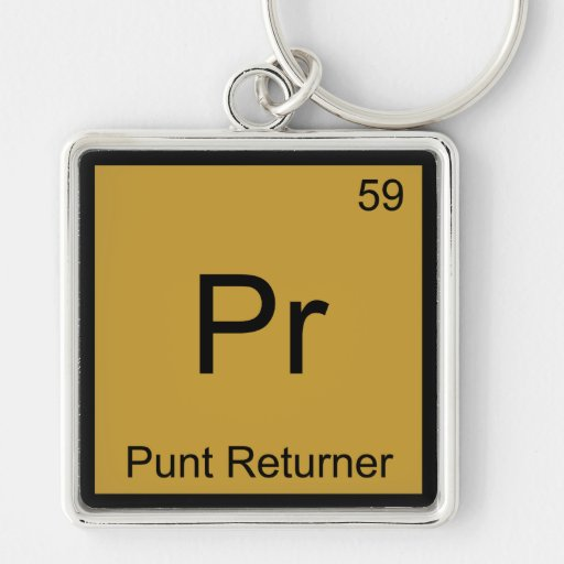 Pr - Punt Returner Chemistry Element Symbol Tee Key Chains