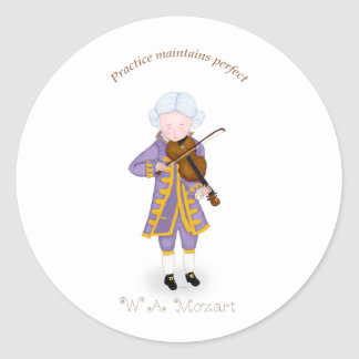 Practice Maintains Perfect (Violin) Classic Round Sticker