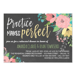 Practice Makes Perfect Chalkboard Rehearsal Dinner Card