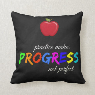 Practice makes progress throw pillow