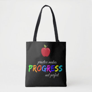 Practice makes progress tote bag