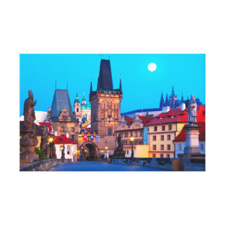 Prague #001A - Charles Bridge at Dawn, Czechia Canvas Print