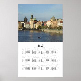 Prague 2012 One Page Calendar Poster