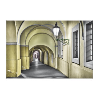 Prague Arcade Passage Night Canvas
