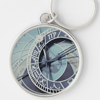 Prague Astronomical Clock Silver-Colored Round Keychain