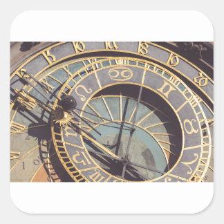 Prague Astronomical Clock Square Sticker