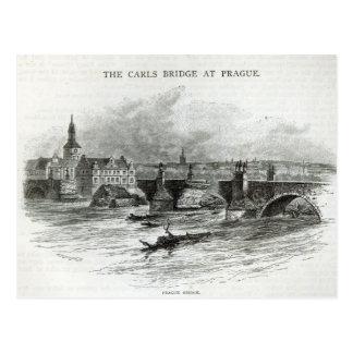 Prague Bridge, from 'Leisure Hour', 1891 Postcard