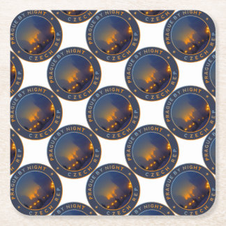 Prague by Night Square Paper Coaster