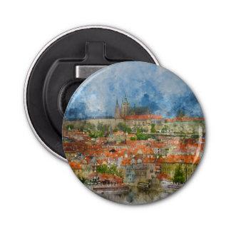 Prague Castle in Czech Republic Button Bottle Opener